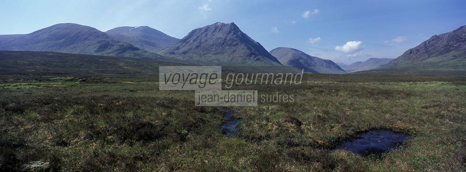 Europe/Grande-Bretagne/Ecosse/Highland/Env de Glencoe : Paysage de lande et des Highland