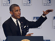 Washington, DC - October 2, 2014: U.S. President Barack Obama addresses attendees of the Congressional Hispanic Caucus Institute's annual Awards Gala at the Washington Convention Center in the District of Columbia, October 2, 2014.  (Photo by Don Baxter/Media Images International)