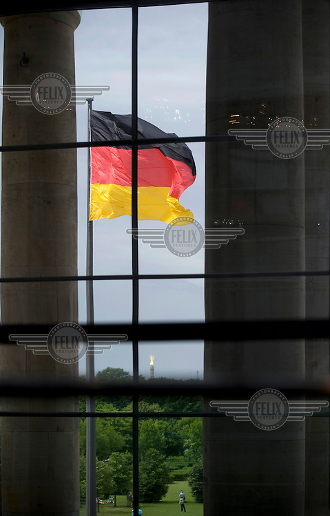 German flag seen from within the Bundestag.