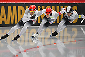 7th February 2019, Max Aicher Arena, Inzell, Germany;  World speed skating championships; Denny IHLE, Nico IHLE, Joel DUFTER (GER)  Team Sprint men