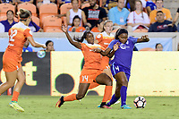 Houston, TX - Saturday June 17, 2017: Nichelle Prince and Jamia Fields battle for control of the ball  during a regular season National Women's Soccer League (NWSL) match between the Houston Dash and the Orlando Pride at BBVA Compass Stadium.