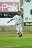 Wynton Bernard #36 of the West Michigan Whitecaps make a catch in right field against the Clinton LumberKings at Ashford University Field on July  25, 2014 in Clinton, Iowa. The Whitecaps won 9-0.   (Dennis Hubbard/Four Seam Images)