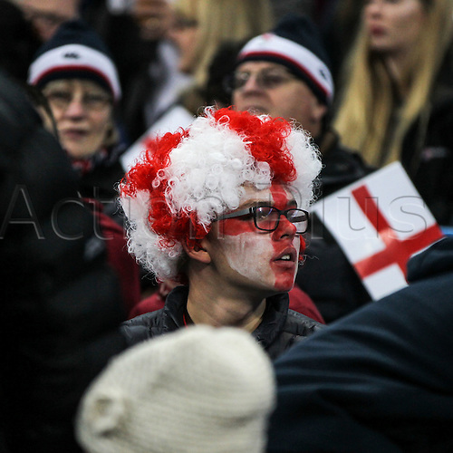 10.10.2015. Etihad Stadium, Manchester, England. Rugby World Cup. England versus Uruguay.  England Supporters watch the warm-up ahead of the match.