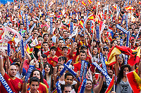 Fans cheering spanish national football team