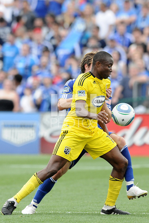 Emmanuel Ekpo...Kansas City Wizards were defeated 1-0 by Columbus Crew at Community America Ballpark, Kansas City, Kansas.