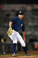 Pitcher Jake Simon (27) of the Columbia Fireflies delivers a pitch in a game against the Lakewood BlueClaws on Saturday, May 6, 2017, at Spirit Communications Park in Columbia, South Carolina. Lakewood won, 1-0 with a no-hitter. (Tom Priddy/Four Seam Images)