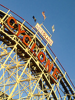 historic cyclone roller coaster since 1927 in coney island