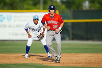Trent Woodward (30) of the Greeneville Astros takes his lead off of first base against the Burlington Royals at Burlington Athletic Park on June 29, 2014 in Burlington, North Carolina.  The Royals defeated the Astros 11-0. (Brian Westerholt/Four Seam Images)