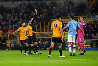 27th December 2019; Molineux Stadium, Wolverhampton, West Midlands, England; English Premier League, Wolverhampton Wanderers versus Manchester City; Manchester City Goalkeeper Ederson receives a red card from Referee Martin Atkinson after a foul outside the box on Diogo Jota of Wolverhampton Wanderers  - Strictly Editorial Use Only. No use with unauthorized audio, video, data, fixture lists, club/league logos or 'live' services. Online in-match use limited to 120 images, no video emulation. No use in betting, games or single club/league/player publications