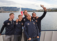 Swiss, Genève, September 14, 2015, Tennis,   Davis Cup, Swiss-Netherlands, Dutch team on a boat trip on lake Geneve making a selfie ltr:   Tim van Rijthoven,  Tallon Griekspoor,  Matwe Midelkoop , Thiemo de Bakker and Jesse Huta Galung.<br />