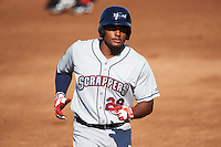 Mahoning Valley Scrappers first baseman Emmanuel Tapia (28) running the bases during a game against the Auburn Doubledays on June 19, 2016 at Falcon Park in Auburn, New York.  Mahoning Valley defeated Auburn 14-3.  (Mike Janes/Four Seam Images)