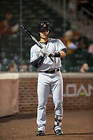 Salt River Rafters shortstop Bryson Brigman (15), of the Miami Marlins organization, on deck during an Arizona Fall League game against the Mesa Solar Sox at Sloan Park on October 16, 2018 in Mesa, Arizona. Salt River defeated Mesa 2-1. (Zachary Lucy/Four Seam Images)
