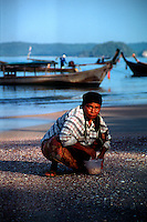 Local Thai lady collecting shells on the beach early in the morning. AoNang,  Krabi Province - Southern Thailand.