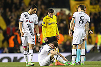 Ben Davies of Tottenham Hotspur (centre) suffers after a clash with Hugo Lloris of Tottenham Hotspur (not seen) before being substituted during the UEFA Europa League match between Tottenham Hotspur and Borussia Dortmund at White Hart Lane, London, England on 17 March 2016. Photo by David Horn / PRiME Media Images