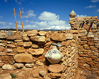 Anasazi Pueblo Indian Ruins with the snow-capped Abajo Mountains in the distance; Edge of the Cedars State Park, UT