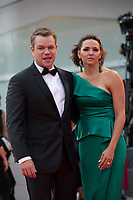 "Matt Damon, Luciana Barroso at the ""Suburbicon"" premiere, 74th Venice Film Festival in Italy on 2 September 2017.<br /> <br /> Photo: Kristina Afanasyeva/Featureflash/SilverHub<br /> 0208 004 5359<br /> sales@silverhubmedia.com"