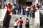 PEOPLE OUTSIDE OF CHURCH IN BAJA MEXICO
