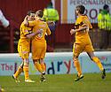 Motherwell's Jamie Murphy celebrates with Henrik Ojamaa  after he scores Motherwell's second goal.