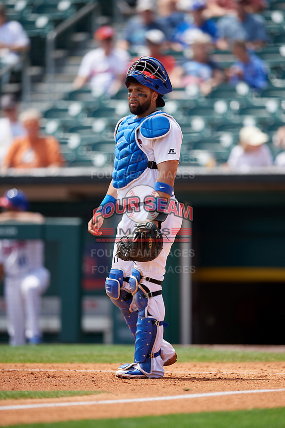 Buffalo Bisons catcher Michael De La Cruz (43) during a game against the Pawtucket Red Sox on June 28, 2018 at Coca-Cola Field in Buffalo, New York.  Buffalo defeated Pawtucket 8-1.  (Mike Janes/Four Seam Images)
