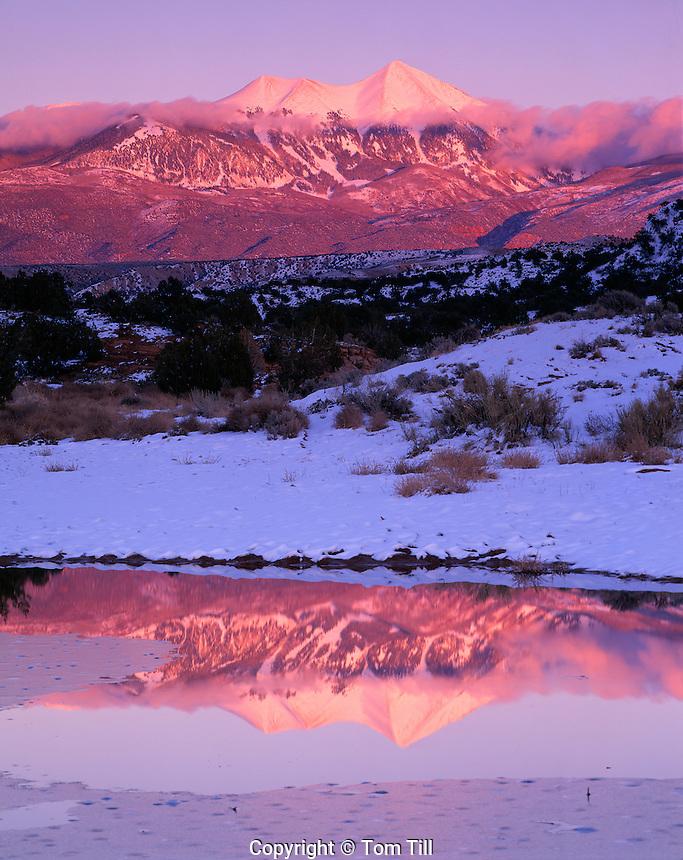 La Sal Mountains Reflection, Utah    Mt. Tukuhnikivatz  12, 482 Feet   Winter view  Near Moab, Utah