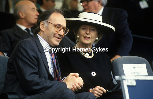Mrs Thatcher 1994 with Michael Howard at the opening ceremony of Le Shuttle Folkstone Kent. UK