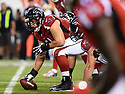 CLEVELAND, OH - AUGUST 18, 2016: Center Alex Mack #51 of the Atlanta Falcons awaits a call at the line of scrimmage in the first quarter of a preseason game on August 18, 2016 against the Cleveland Browns at FirstEnergy Stadium in Cleveland, Ohio. Atlanta won 24-13. (Photo by: 2016 Nick Cammett/Diamond Images) *** Local Caption *** Alex Mack