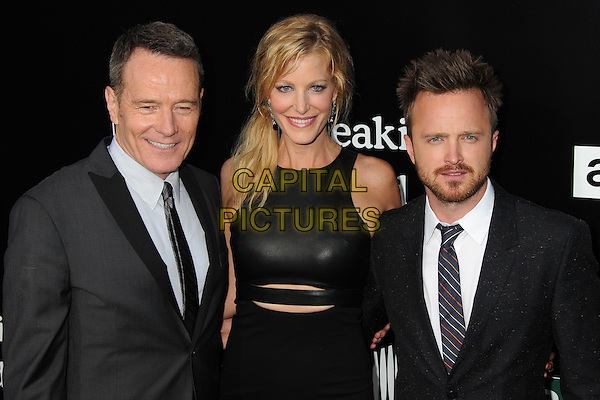 Bryan Cranston, Anna Gunn, Aaron Paul<br /> &quot;Breaking Bad&quot; Final Episodes Los Angeles Premiere Screening held at Sony Pictures Studios, Culver City, California, USA, 24th July 2013.<br /> half length black leather dress white shirt grey gray suit tie <br /> CAP/ADM/BP<br /> &copy;Byron Purvis/AdMedia/Capital Pictures