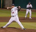 Reno Aces Pitcher Will Harris throws against the Colorado Sky Sox during their game played on Tuesday night, April 16, 2013 in Reno, Nevada.