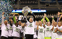 The Seattle Sounders FC led by goalkeeper Kasey Keller, center, celebrate winning their third U.S. Open Cup after play between the Seattle Sounders FC and the Chicago Fire in the U.S. Open Cup Final at CenturyLink Field in Seattle Tuesday October 4, 2011. Seattle won the game 2-0.