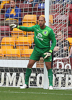 Tim Howard lines up his wall in the Motherwell v Everton friendly match at Fir Park, Motherwell on 21.7.12 for Steven Hammell's Testimonial.