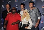 "CULVER CITY, CA - OCTOBER 28: Carson Daly, Cee-Lo Green, Adam Levine, Christina Aguilera, Blake Shelton at the ""The Voice"" Press Junket at Sony Pictures Studios on October 28, 2011 in Culver City, California."