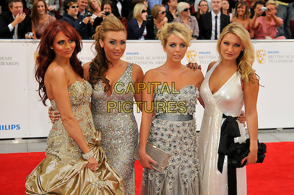 AMY CHILDS, LAUREN GOODGER, LYDIA BRIGHT & SAM FAIERS .Attending the Philips British Academy Television Awards, Grosvenor house Hotel, Park Lane, London, England, UK, May 22nd 2011..arrivals TV Baftas Bafta half  length strapless gold dress tulle long maxi gown TOWIE silver white sequined sequin  .CAP/CAS.©Bob Cass/Capital Pictures.
