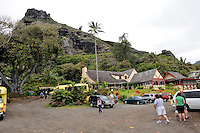 A popular tourist spot, the Crouching Lion Inn on Kamehameha Hwy. Kaaawa, Oahu, Hawaii
