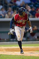 Antoan Richardson (17) of the Scranton/Wilkes-Barre RailRiders hustles down the first base line against the Charlotte Knights at BB&T Ballpark on July 17, 2014 in Charlotte, North Carolina.  The Knights defeated the RailRiders 9-5.  (Brian Westerholt/Four Seam Images)