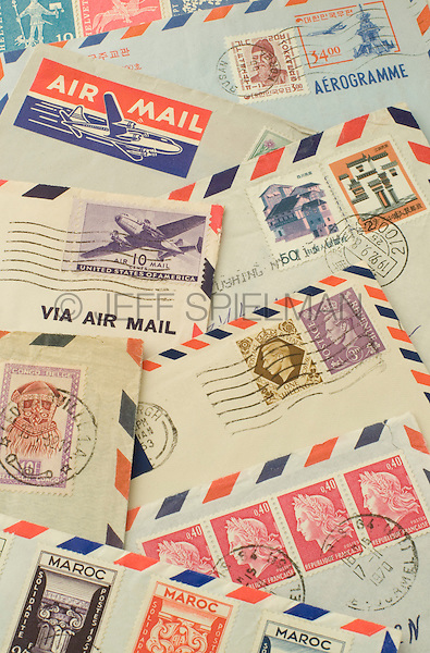 Old Air Mail Envelopes with Cancelled Postage Stamps from around the World<br />