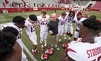 Hawgs Illustrated/BEN GOFF <br /> Justin Stepp, Arkansas wide receivers coach, huddles with the receivers Saturday, April 6, 2019, after the Arkansas Red-White game at Reynolds Razorback Stadium.
