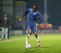 3rd December 2019; Pirelli Stadium, Burton Upon Trent, Staffordshire, England; English League One Football, Burton Albion versus Southend United; Elvis Bwomono of Southend United with the ball at his feet - Strictly Editorial Use Only. No use with unauthorized audio, video, data, fixture lists, club/league logos or 'live' services. Online in-match use limited to 120 images, no video emulation. No use in betting, games or single club/league/player publications