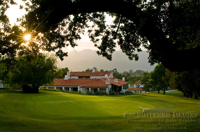Oak trees and golf course at sunset, Ojai Valley Inn and Spa, Ojai, California