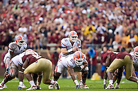 November 29, 2008:   Florida quarterback Tim Tebow (15) lines up for a snap during non-conference game action between the University of Florida Gators  and the Florida State Seminoles at Doak Campbell Stadium in Tallahassee, Florida.   Florida defeated Florida State 45-15.