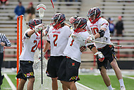 College Park, MD - April 1, 2017: Maryland Terrapins celebrates a goal during game between Michigan and Maryland at  Capital One Field at Maryland Stadium in College Park, MD.  (Photo by Elliott Brown/Media Images International)