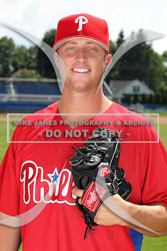 Williamsport Crosscutters pitcher Jacob Borup (30) poses for a photo in Phillies gear before a game vs the Batavia Muckdogs at Dwyer Stadium in Batavia, New York July 26, 2010.   Batavia defeated Williamsport 3-2.  Photo By Mike Janes/Four Seam Images