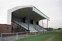 The main stand at Ford United FC, Ford Sports & Social Club, Rush Green Road, Romford, Essex, pictured on 10th March 1990