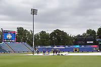 Groundstaff mopping off early morning at Sophia Gardens with a gloomy outlook forecast during Afghanistan vs Sri Lanka, ICC World Cup Cricket at Sophia Gardens Cardiff on 4th June 2019
