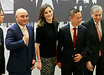 Queen Letizia of Spain (c) with  Chinese businessmen Eric X. Li, president of Chengwei Capital (r) and Lin Liangqi, president of Akso Nobel China during the presentation of the International Friendship Award. April 9, 2018. (ALTERPHOTOS/Acero)