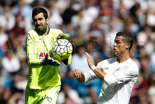 09.04.2016. Madrid, Spain.  Cristiano Ronaldo dos Santos (7) Real Madrid and Asier Riesgo (13) SD Eibar. La Liga match between Real Madrid and SD Eibar at the Santiago Bernabeu stadium in Madrid, Spain.