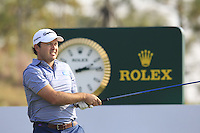 Richard Sterne (RSA) tees off the 18th tee during Sunday's Final Round of the 2014 BMW Masters held at Lake Malaren, Shanghai, China. 2nd November 2014.<br /> Picture: Eoin Clarke www.golffile.ie