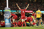Wales captain Sam Warburton celebrates his packs performance as they force a penalty try.<br /> Dove Men Series 2014<br /> Wales v Australia<br /> Millennium Stadium<br /> 08.11.14<br /> &copy;Steve Pope-SPORTINGWALES