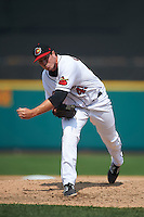 Rochester Red Wings pitcher Ryan O'Rourke (49) follows through on a pitch during a game against the Pawtucket Red Sox on July 1, 2015 at Frontier Field in Rochester, New York.  Rochester defeated Pawtucket 8-4.  (Mike Janes/Four Seam Images)