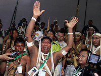 A group of indigenous Matiz,Borogo and Kanamariz protest the pool conditions they endure living epidemic of hepatitis and malaria in amazon, during the World Social Forum on January 31, 2009 in Belem, Para, northern Brazil.