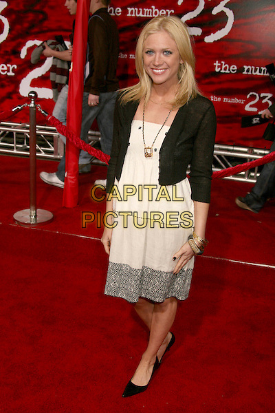 "BRITTANY SNOW.""The Number 23"" Los Angeles Premiere at the Orpheum Theater, Los Angeles, California, USA..February 13th, 2007.full length black cardigan white dress.CAP/ADM/BP.©Byron Purvis/AdMedia/Capital Pictures"